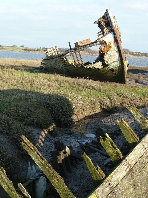 Old wooden wreck, Fleetwood Marsh