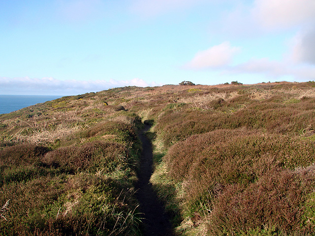 The South West Coastal Path crossing Carn Gribba