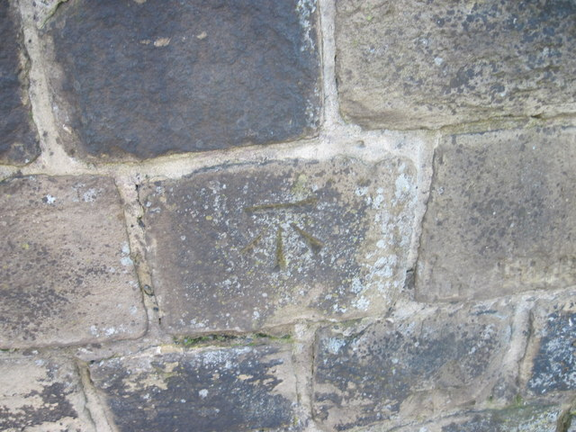 Ordnance Survey Cut Mark on wall in Armley Road, Armley