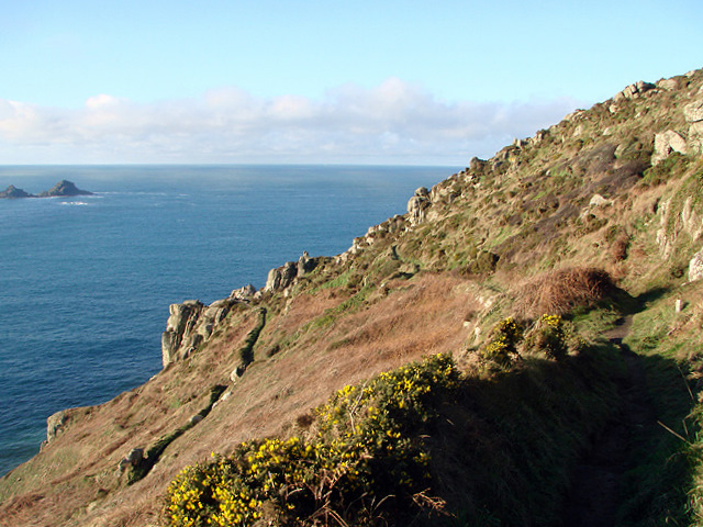 The South Western Coastal Path crossing Carn Leskys