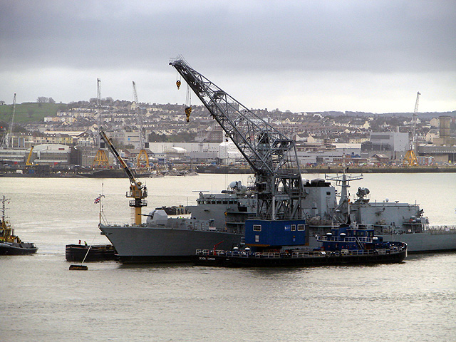 Warship repair (or decommissioning?) at Wearde Quay