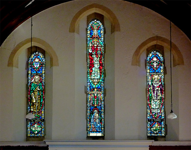 St David's Church (windows) in Llanddewi-Brefi, Ceredigion