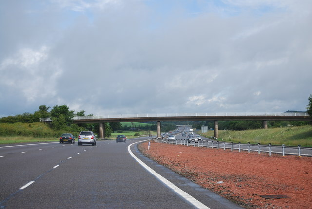 Approaching the Breckenry Road Bridge, A74(M)