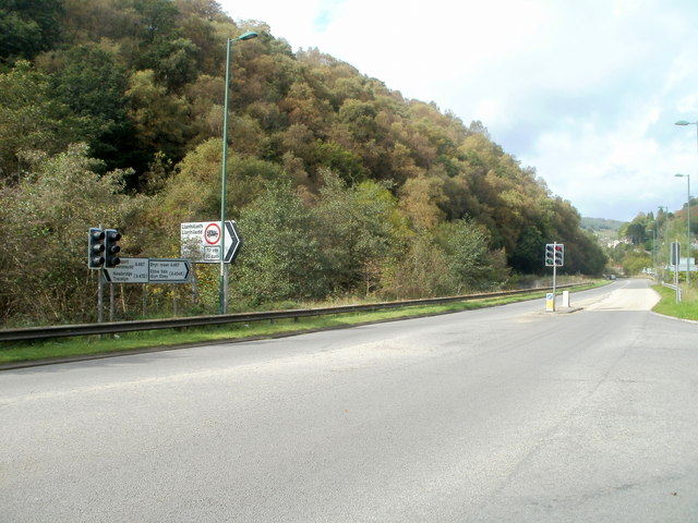 Wooded hillside on the west side of the A467, Llanhilleth