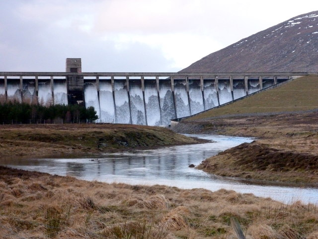 Water over the dam at Glascarnoch