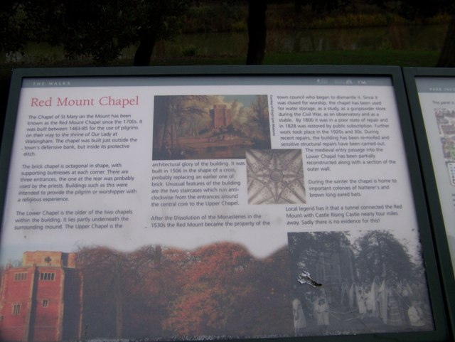 Information panel about the Red Mount Chapel, King's Lynn