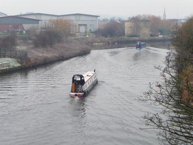 Narrowboats heading to Leeds