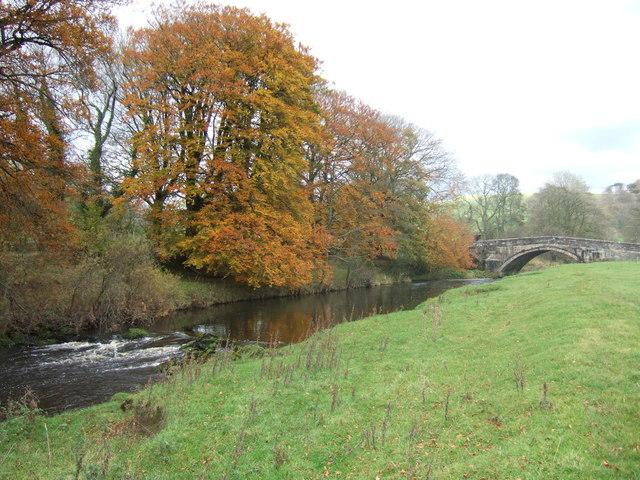 River Hodder with road bridge near Newton