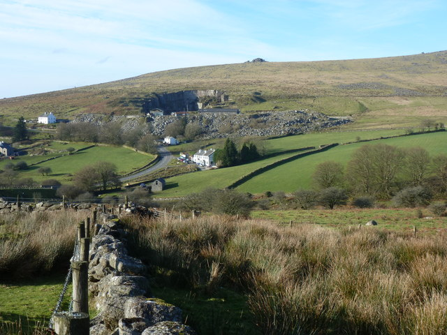 Walled grassland with the Dartmoor Inn in the background, Merrivale