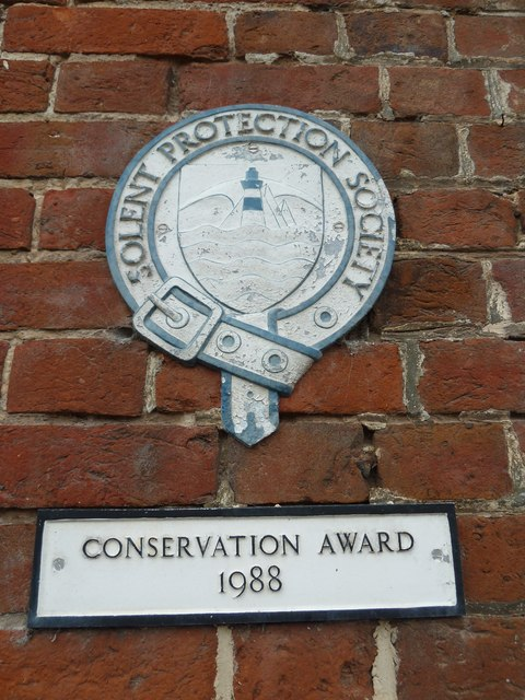 Solent Protection Society plaque on a sailing club at Emsworth