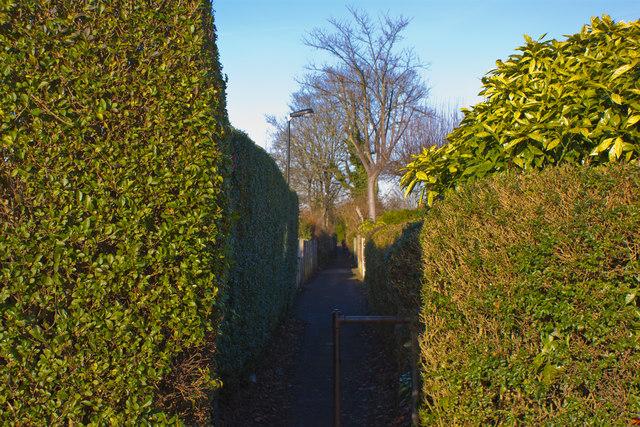 An urban footpath off Church Road, Urmston