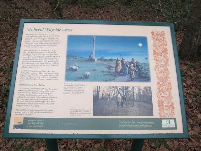Medieval wayside cross, information board