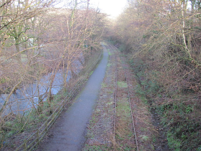 Cycle path and disused railway near Llangeinor