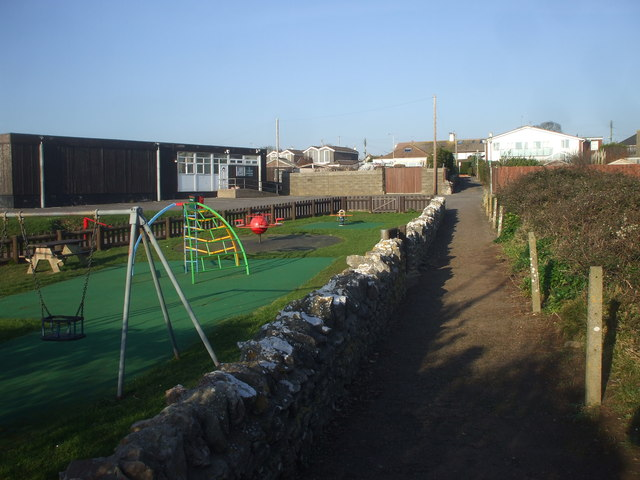 Footpath, children's playground and Jubilee Hall, Sully