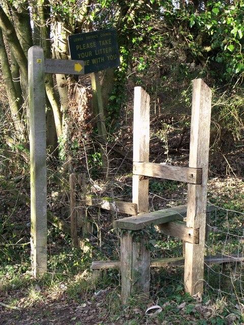 Stile for public footpath near Ringmer