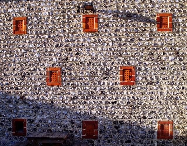 Flint walls, brick vents, Middle Farm, Firle