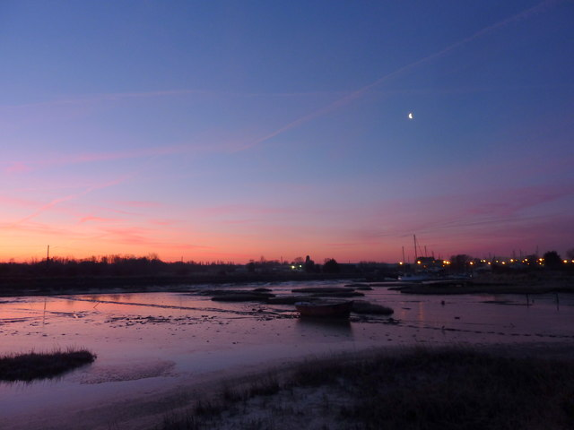 Sunrise - and moon - over Oare Creek