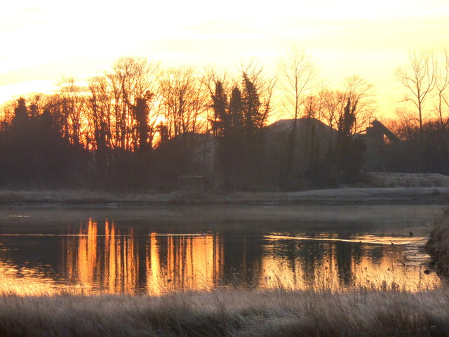 Pond next to Oare Creek at sunrise