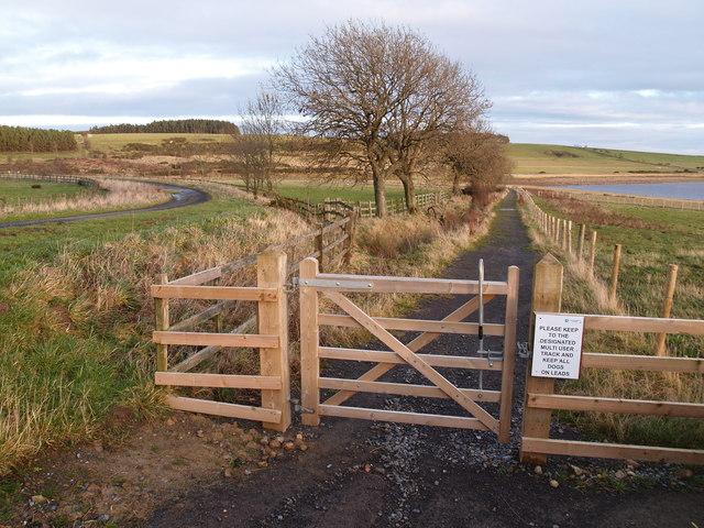 Gate onto Waterside Way around Derwent Reservoir
