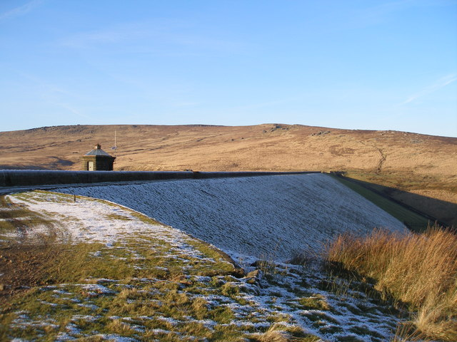 The dam at Gorple Upper Reservoir