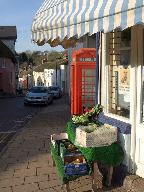 Shop and phone box, North Tawton