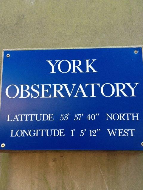 York Observatory, latitude and longitude