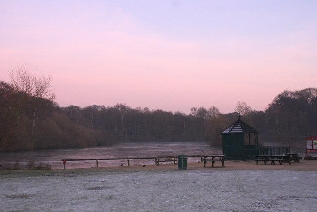 Golden Acre Park Lake at dusk