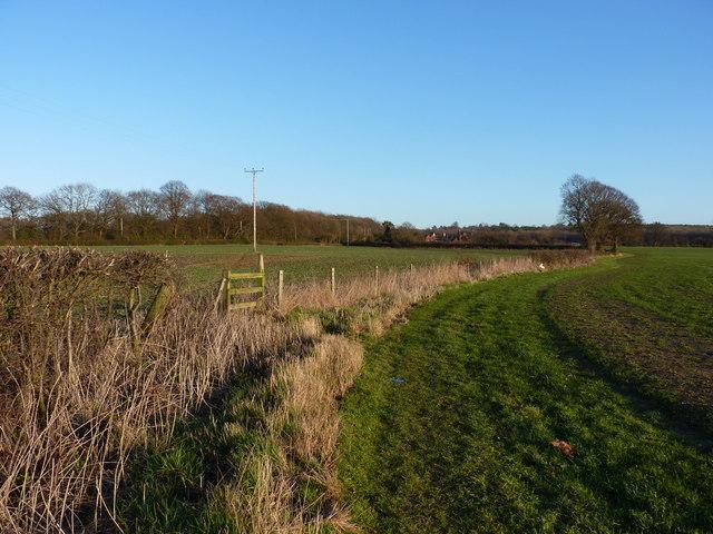 Footpath across fields near Lilleshall Abbey