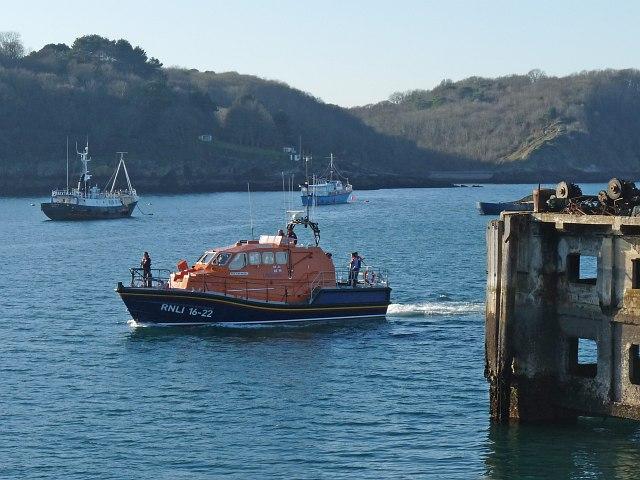 Lifeboat entering Brixham Harbour