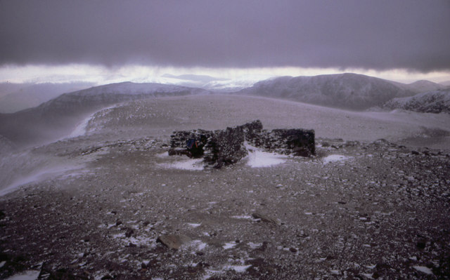 Shelter from the wind on top of Helvellyn