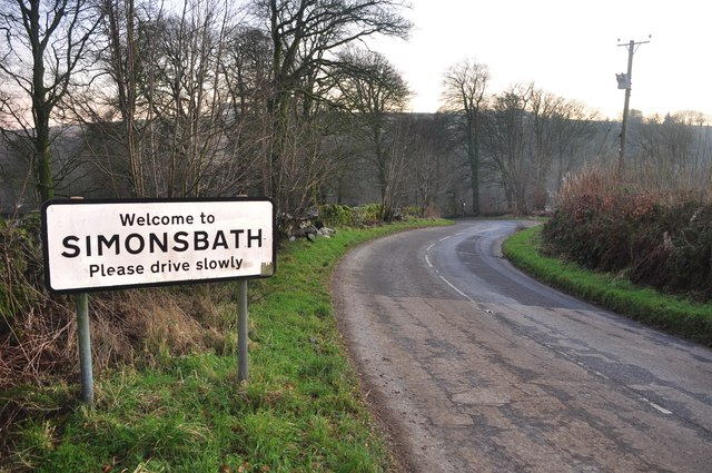 Simonsbath : The B3223 & Village Sign