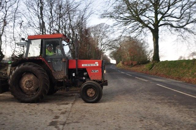 Exmoor : The B3223 & Tractor