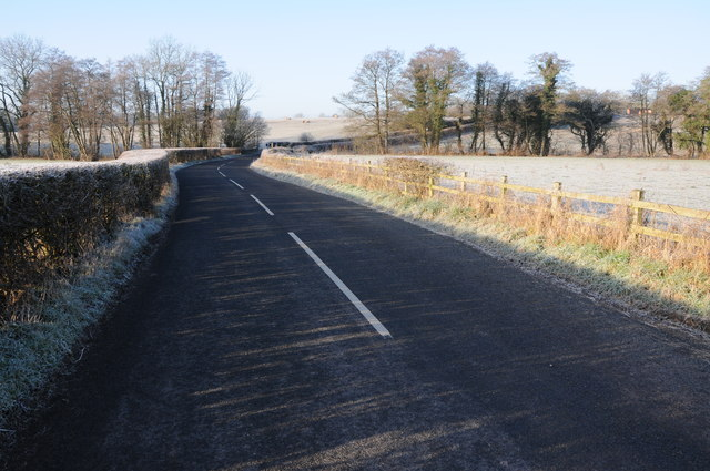 The B4233 approaching Llymon Bridge