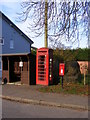 TM2782 : Bus Shelter,Telephone Box &amp; Sir Alfred Munnings Hotel Postbox by Adrian Cable
