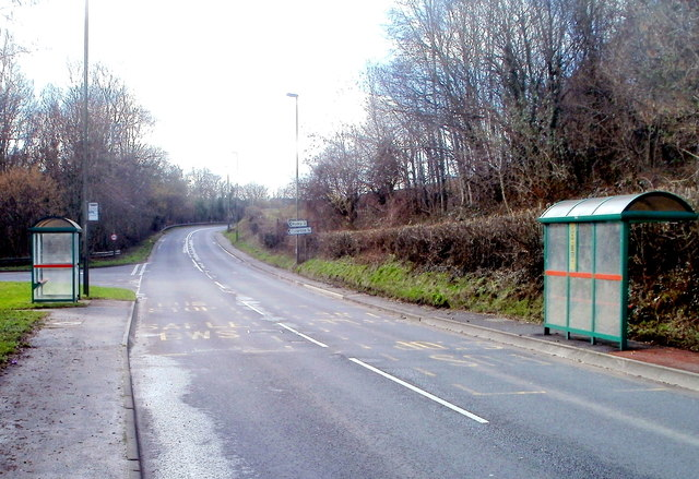 A468 bus shelters at the turning for Waterloo and Rudry
