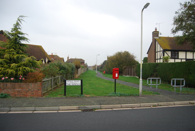 Postbox and footpath, Polo Way