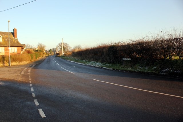 Junction of School Lane and Post Office Lane, Norley
