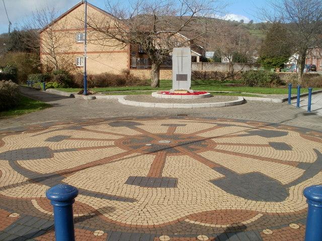 Trethomas War Memorial and mosaic