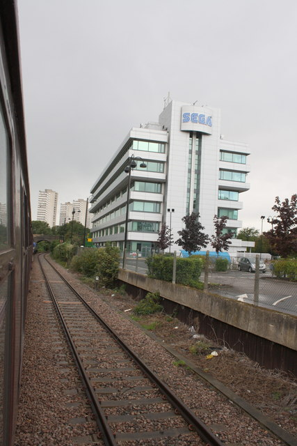 Charter train passes SEGA headquarters