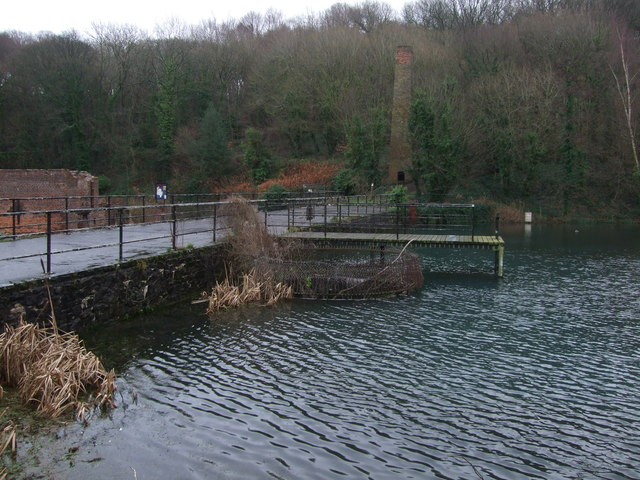 Chimney and landing stage at Battery Pool