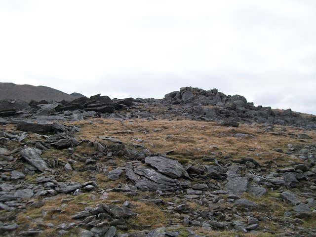 Frost shattered rocks on the summit plateau of Elidir Fach