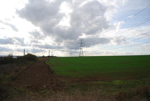 Pylons and farmland