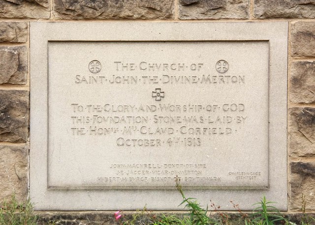 St John the Divine, High Path, Merton - Foundation stone