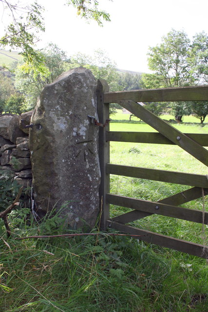 Benchmark on gatepost by Watery Lane