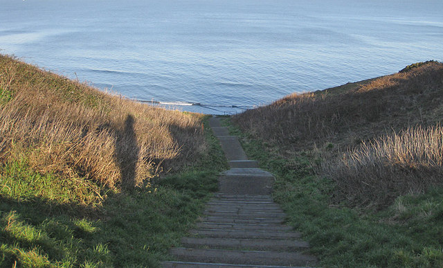 Steps down the cliffside
