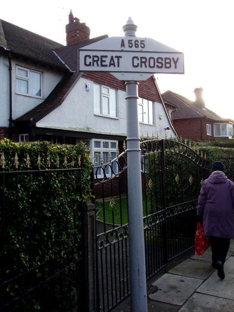 Great Crosby boundary sign, Moor Lane