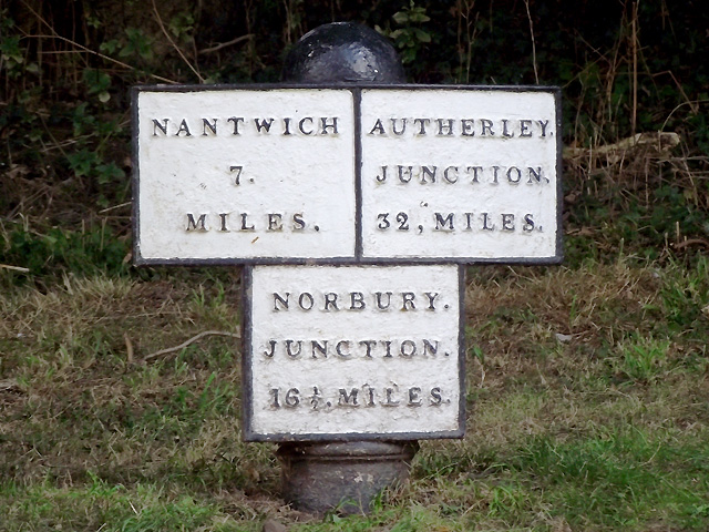 Canal milepost north of Audlem, Cheshire