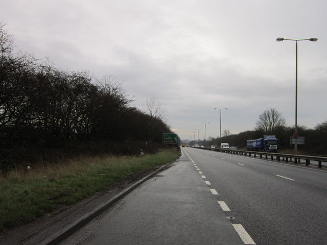 Looking south along the A38