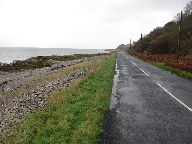 Coast road and beach