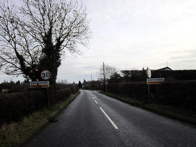 Entering Hartshorne on Repton Road